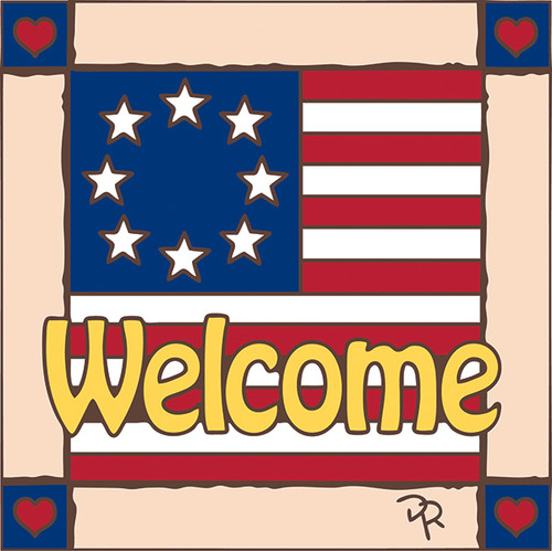 6x6 Tile Welcome Flag 8210A