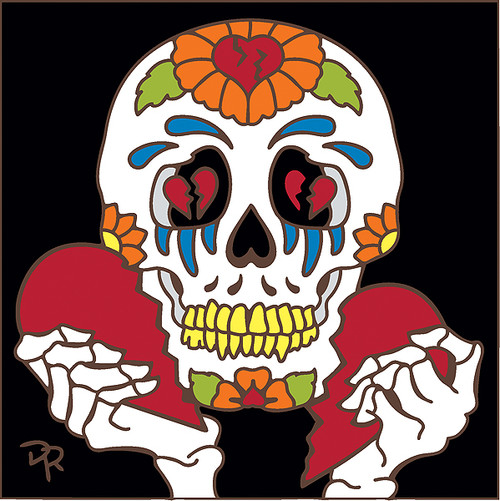 6x6 Tile Day of the Dead Broken Heart Skull