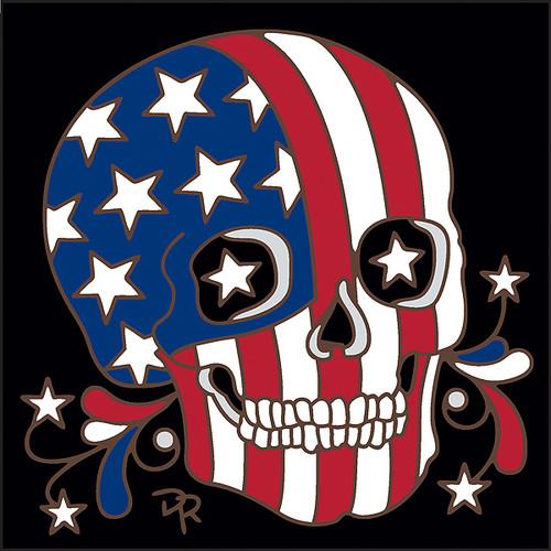 6x6 Tile Day of the Dead American Flag Skull