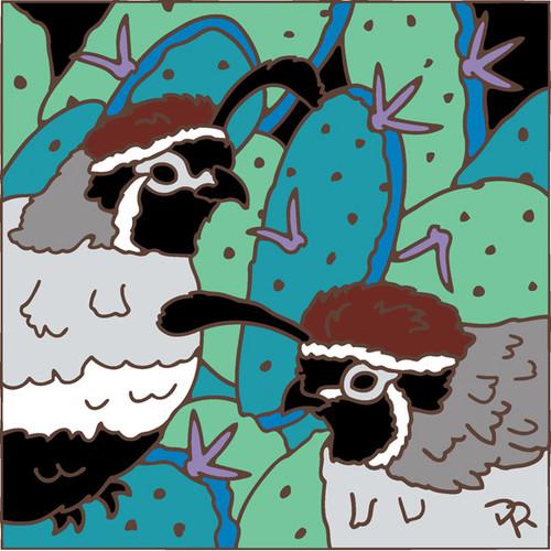 Quail and Prickly Pear Cactus 8106A