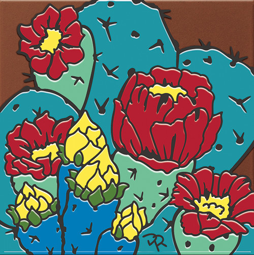 """6X6 Tile Prickly Pear Blooms """"Naturals"""""""