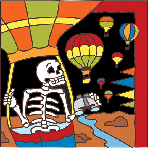6x6 Tile Day of the Dead Hot Air Balloon 7494A