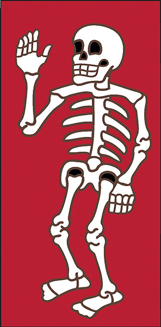 3x6 Tile Red Day of the Dead Waver Right End