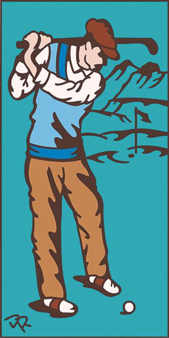 3x6 Tile Golfer Turquoise3027TQ