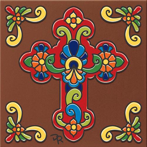 """6X6 Tile Talavera Cross """"Naturals"""""""