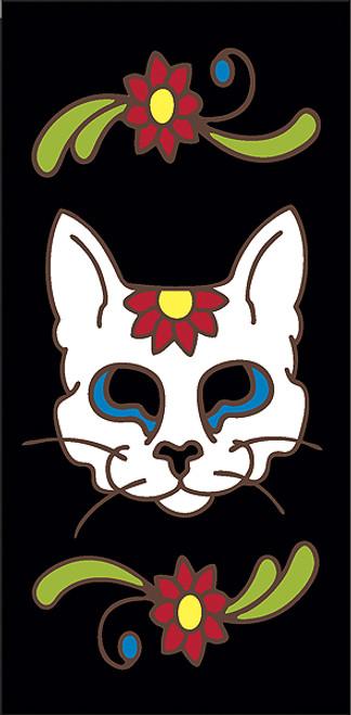3x6 Tile Black Day of the Dead Cat Sugar Skull End