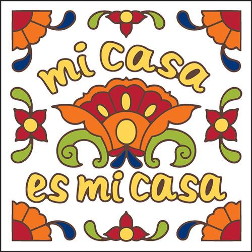6x6 Tile Talavera Mi Casa Es Mi Casa White 8136W