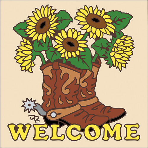 6x6 Tile Welcome Boots with Sunflowers Sand 7635A