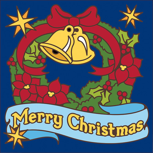 6x6 Tile Merry Christmas Wreath