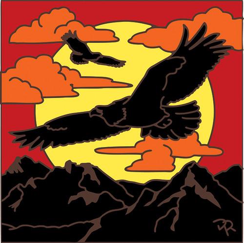 6x6 Tile Eagle Sunset Silhouette 8066A
