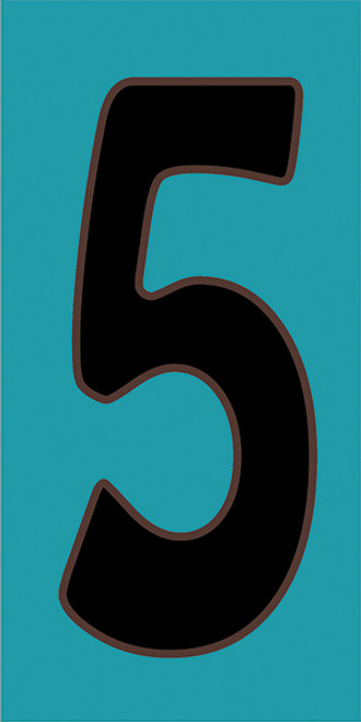 3x6 Tile House Number Turquoise #5