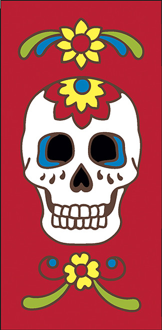 3x6 Tile Red Day of the Dead Sugar Skull Left End