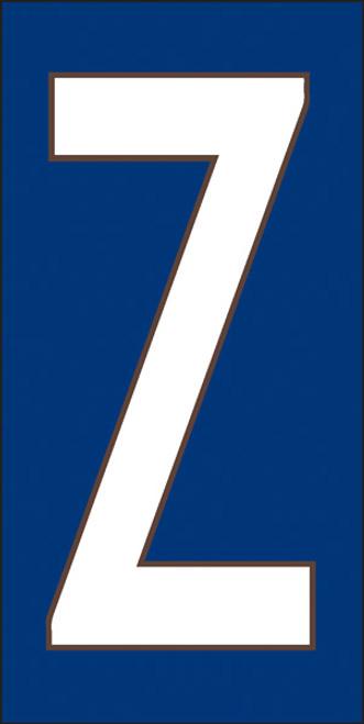 3x6 Tile House Letter Z White on Cobalt