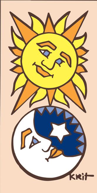 3x6 Tile Sun/Moon Face