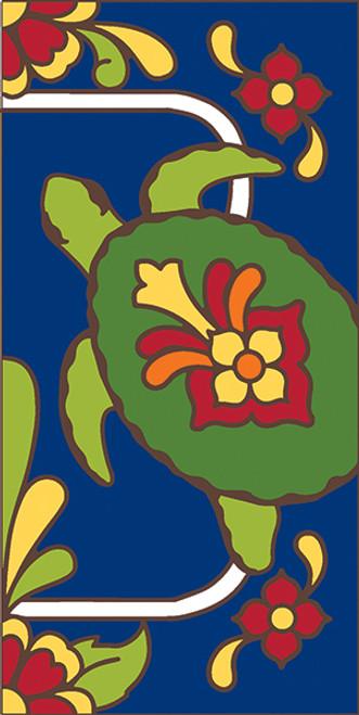 3x6 Tile Cobalt Talavera Turtle Right End