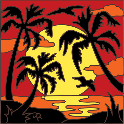 6x6 Tile Palm Tree Sunset Silhouette 8046A
