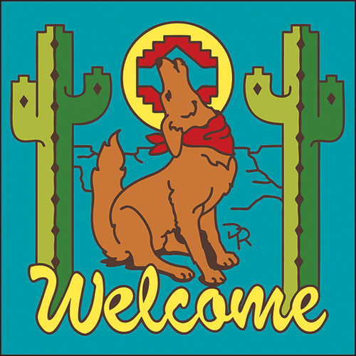 6x6 Tile Welcome Coyote Turquoise 7945TQ