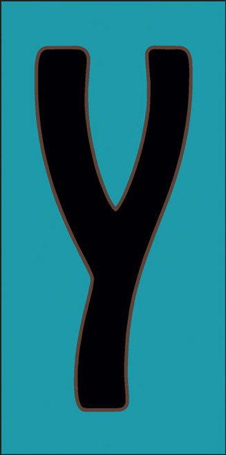 3x6 Tile House Letter Y Turquoise