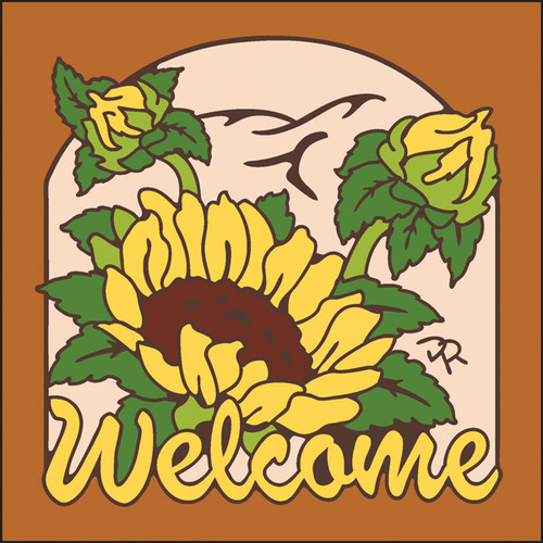 6x6 Tile Welcome Sunflowers Terracotta 7952R