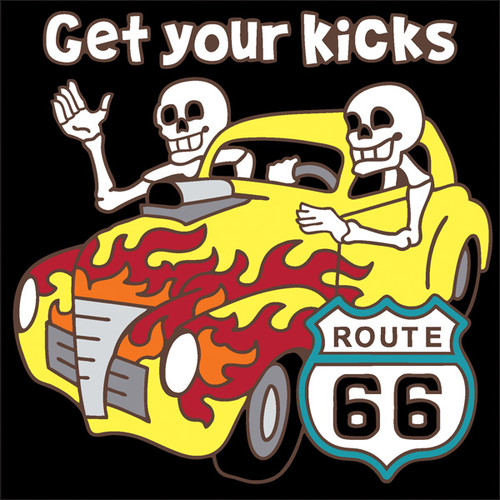 6x6 Tile Day of the Dead Flaming Hot Rod RT 66