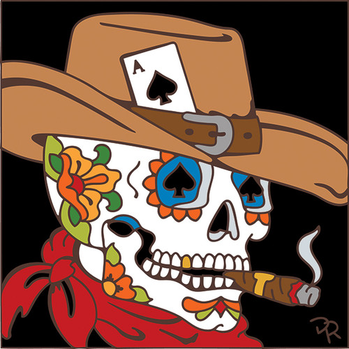 6x6 Tile Day of the Dead Cowboy Sugar Skull7886A