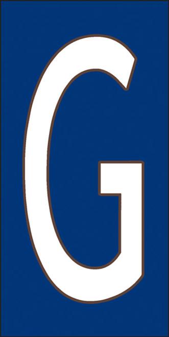 3x6 Tile House Letter G White on Cobalt