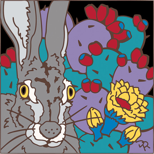 6x6 Tile Jackrabbitt and Prickly Pear 8108A
