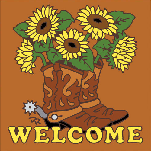 6x6 Tile Welcome Boots with Sunflowers Terracotta 7635R