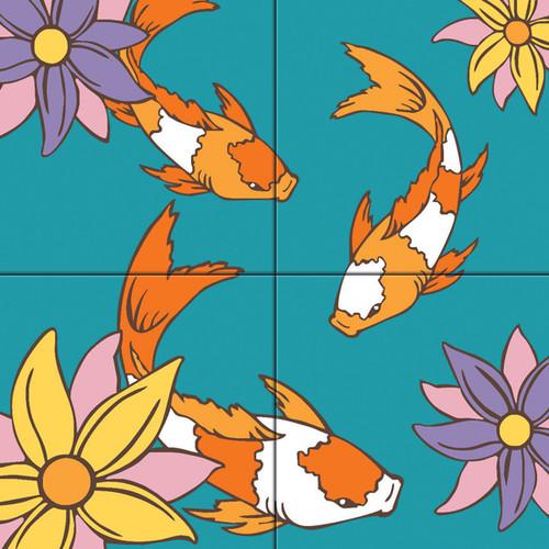 12x12 Tile Mural Koi Fish