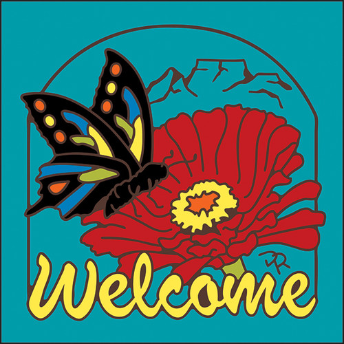 6x6 Tile Welcome Butterfly Turquoise 7954TQ