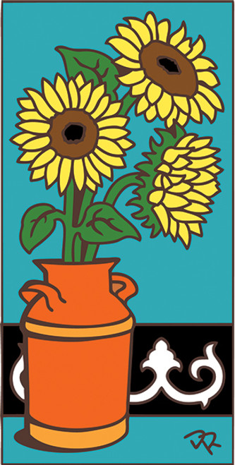 3x6 Tile Sunflowers in Pot Turquoise 3025TQ