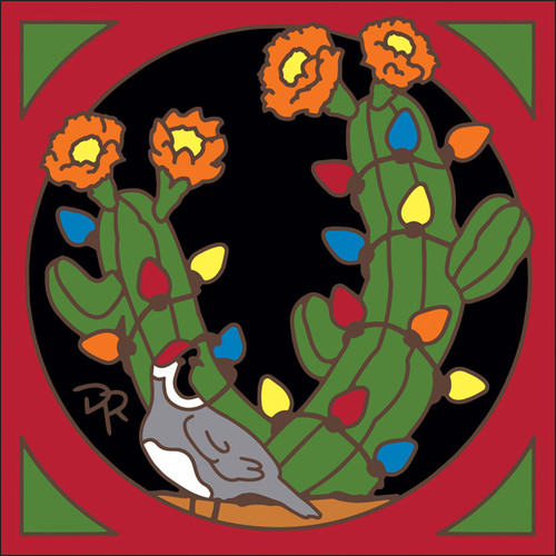 6x6 Tile Quail with Christmas Cactus