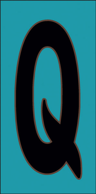 3x6 Tile House Letter Q Turquoise