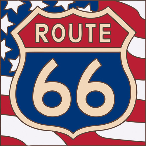 6x6 Tile Route 66 on American Flag
