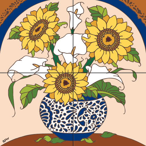12x12 Tile Mural Sunflowers & Calla Lilies
