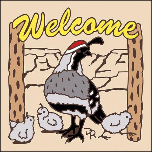 6x6 Tile Welcome Quail & Babies Sand 7942A