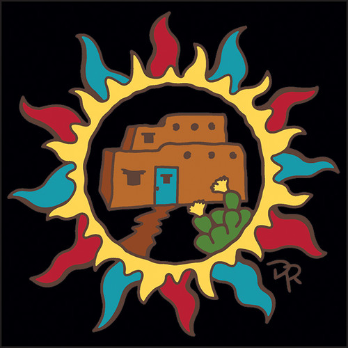 6x6 Tile Southwest Sun with Adobe House 8357A