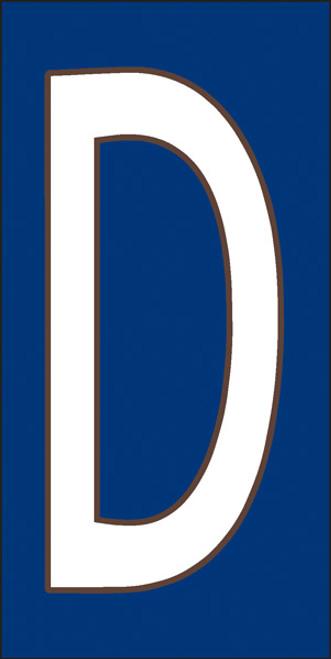 3x6 Tile House Letter D White on Cobalt