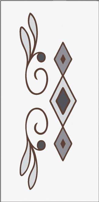 3x6 Tile Diamond Leaf Border White