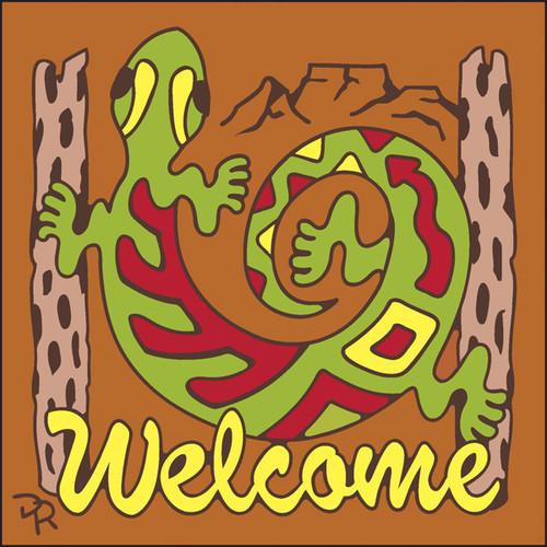 6x6 Tile Welcome Gecko Terracotta 7947R