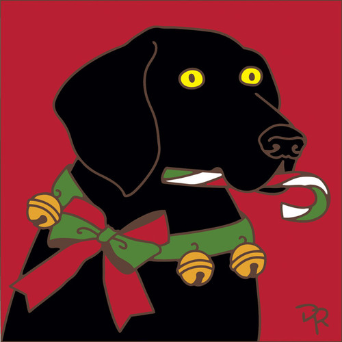 6x6 Tile Jingle Bell Dog with Candy Cane