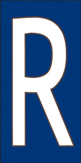 3x6 Tile House Letter R White on Cobalt