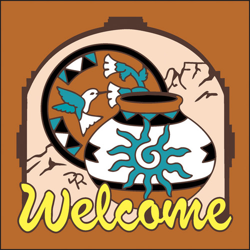 6x6 Tile Welcome Pottery Terracotta 7959R