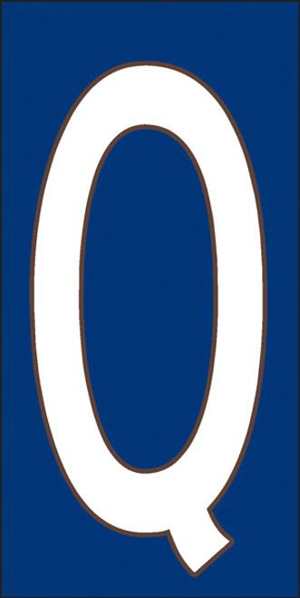 3x6 Tile House Letter Q White on Cobalt