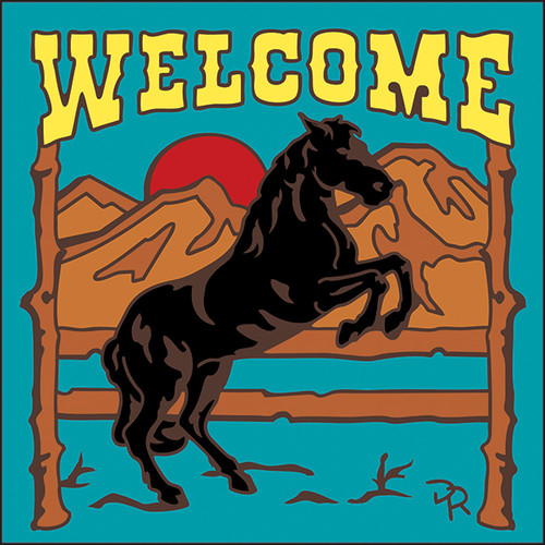 6x6 Tile Welcome Horse at Sunset Turquoise 7937TQ