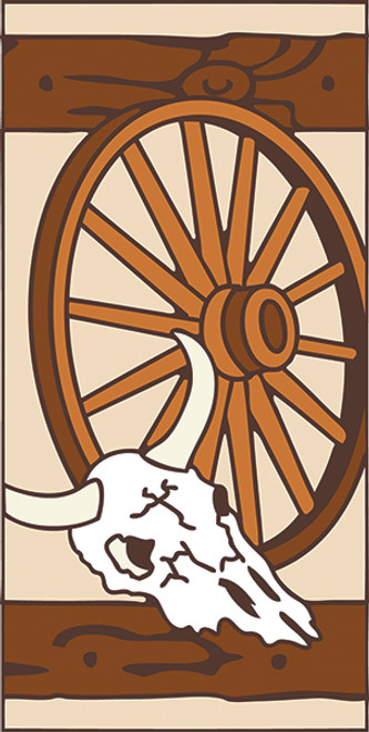 3x6 Tile Western Wagon Wheel Left