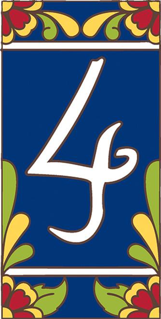 3x6 Tile House Number Cobalt Talavera #4