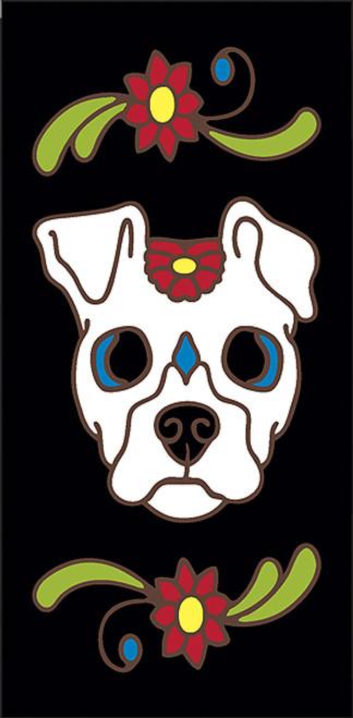 3x6 Tile Black Day of the Dead Dog Sugar Skull End