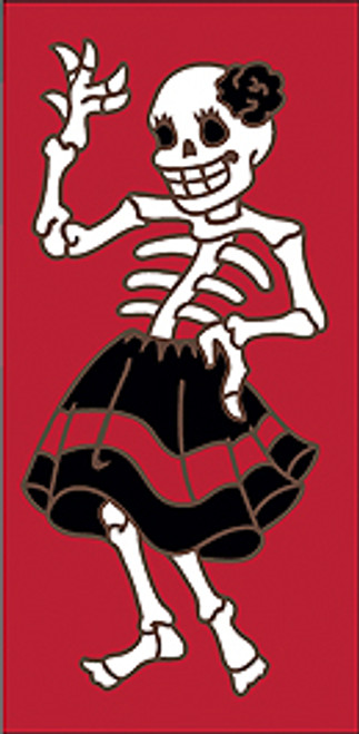 3x6 Tile Red Day of the Dead Señorita Right End