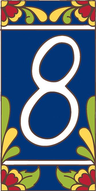3x6 Tile House Number Cobalt Talavera #8